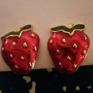 Jewelry - Vintage Strawberry and Gold Clip On Earrings